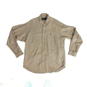 Polo Ralph Lauren Large Blake Silk Linen Shirt Vtg